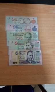 Uruguay banknotes set