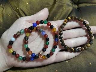 瑪瑙x2+黃虎眼手珠