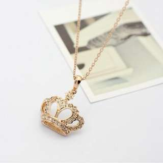 Fashion Queen Crystal CROWN Necklaces & Pendants For Women Girls Top Quality Rose Silver color Chain Trendy Jewelry Gifts