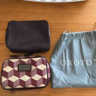 Oroton toiletries bag x2