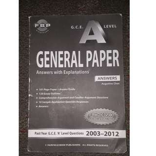GCE A Level General Paper Suggested Answers 10-Year Series (2003-2012)
