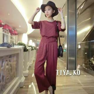 Korean plaid top & pants 1set