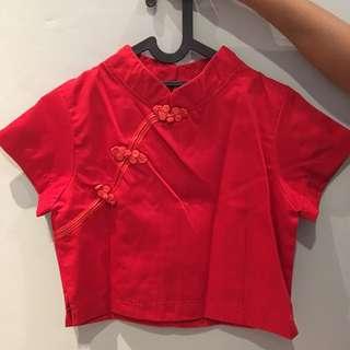 Cheong Sam merah Crop Top 99% baru