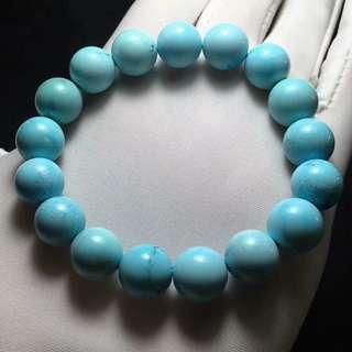原矿高瓷蓝圆珠手串,10.9-11.9mm/T 32.5g natural turquoise bracelet