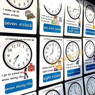 🍎 🌈CLOCKS🌈FLASH CARDS(19PCS)
