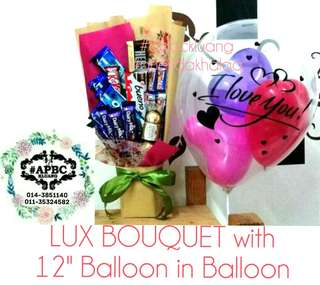 Lux Chocolate Bouquet with Balloon