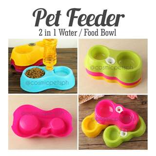 2 in 1 Pet Automatic Water Feeder + Food Bowl
