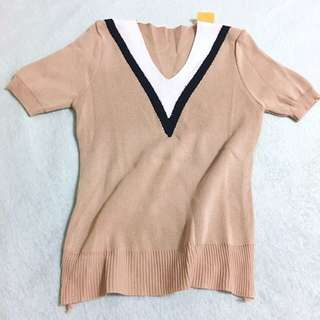 Free Shipping !! Knitted Tops V Neck Brown 针织上衣V领
