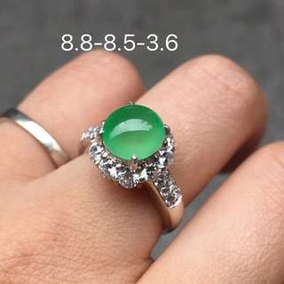 Icy Candy green Jadeite Ring Cabochon 8.8/8.6/3.5mm