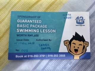 Swimming lesson WORTH 1600RM. (FIRST COME FIRST SERVE)
