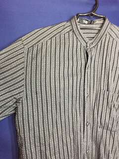 Chinese Collar Black Striped Long Sleeves