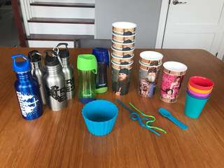 Assorted stainless steel canteens, plastic cups and more