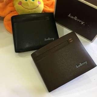 Baellerry Soft Leather Striped Design Men's Short Wallet