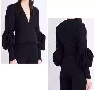INSTOCK Designer Inspired puff sleeves Low plunge neckline blouse