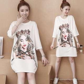 (L~4XL) Women's Mid-length Tops Summer T-shirt Dresses