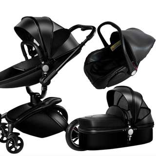 3in1 Baby Stroller Carrier Carriage Elegant Seat Single Travel Double Fold Black