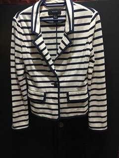 Mango blazer coat stripes soft cotton