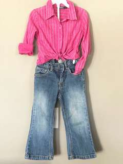 Long sleeved button down and jeans 3T