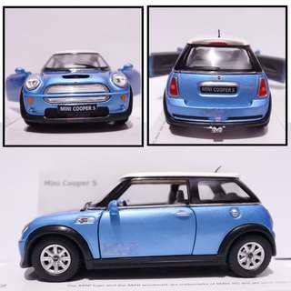 Mini Cooper S - Diecast skala 32 Kinsmart Miniatur Mobil Biru