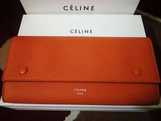 CELINE, Large Flap Multifunction Wallet- Orange, Made in Italy(NEW)