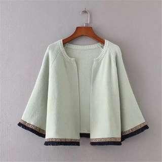 (More cols) Trim detailing Knitted Short jacket