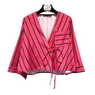 Atypical stripes short kimono wrap blouse