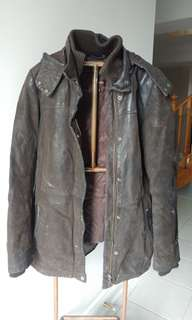 XXS Brown Danier Leather Coat with Removable Liner