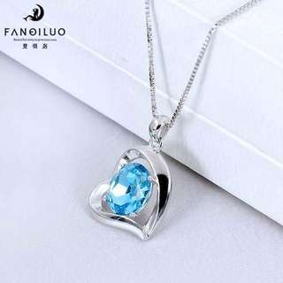 S925 Silver Blue Crystal Heart Shaped Pendant