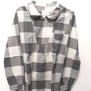 Preloved Checkered Grey Top