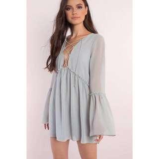 BRAND NEW Pastel Blue Grey Lace Up Flutter Sleeve Dress