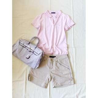 經典美式品牌Hang Ten純色粉紅色短袖POLO衫粉嫩素色單色公主袖短袖上衣
