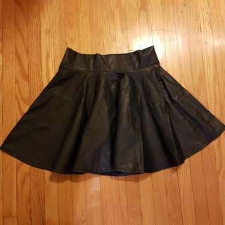 Dark Blue Leatherette Skirt