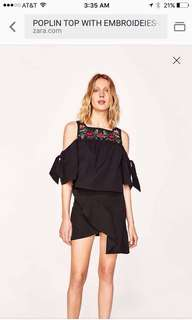 Brand New Zara Embroidered Blouse