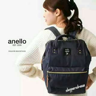 ✳ Navy Authentic Anello Canvas Backpack