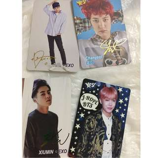 cards - exo xiumin  yes card $2 - 5