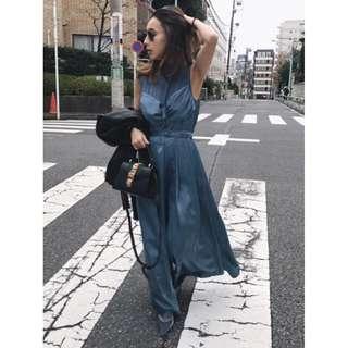 (🇯🇵日本代購)原價日幣19,980円 【AMERI】代官山知名品牌復古優雅光澤感抹胸拼接連身灰藍寬版褲 全新 三件免運
