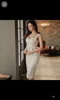White demure long dress straps