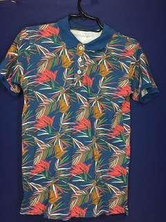 Zara Floral polo shirt