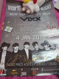 [On hand] VIXX signed by all members on poster from fan meeting in Thailand
