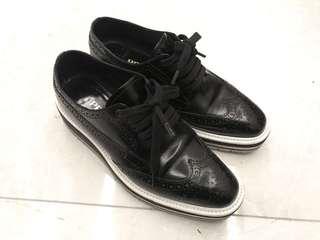 Prada Platform Leather Oxford, BLACK