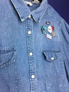 Denim polo with Patches