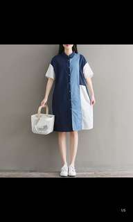 Patchwork linen short-sleeved loose large size long thin dress