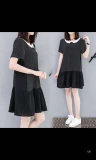 Korean version of the loose striped stitching short sleeve dress