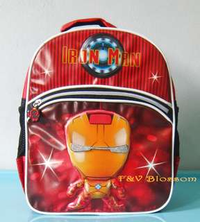 Tas Sekolah Anak Ransel Backpack TK Emboss 2 Kantong IRON MAN