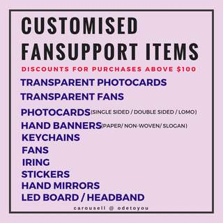 Customised Fansupport Goods for Concerts and Fanmeets