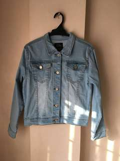 Acid-washed denim jacket