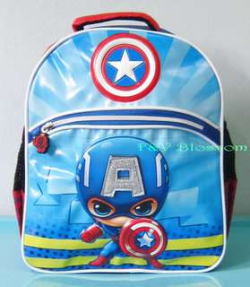 Tas Sekolah Anak Ransel Backpack TK Emboss 2 Kantong CAPTAIN AMERICA