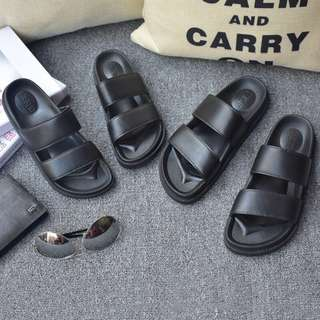 Instock Korean black sandals / double strap slip on / slippers