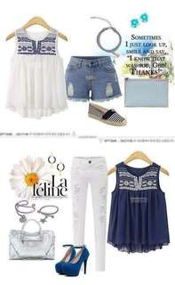 💰340 🌺Korean embroidered top 🌼Cotton  🦋two colors ( white,blue ) 🌷fit S to L (One Size) 🎀Good Quality 💕 *cou
