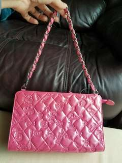 Chanel limited edition  dark pink  patent 側揹,手挽二用袋